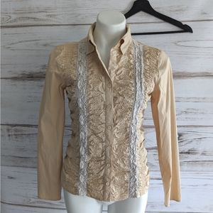 Reitmans Lace and gathered button down top